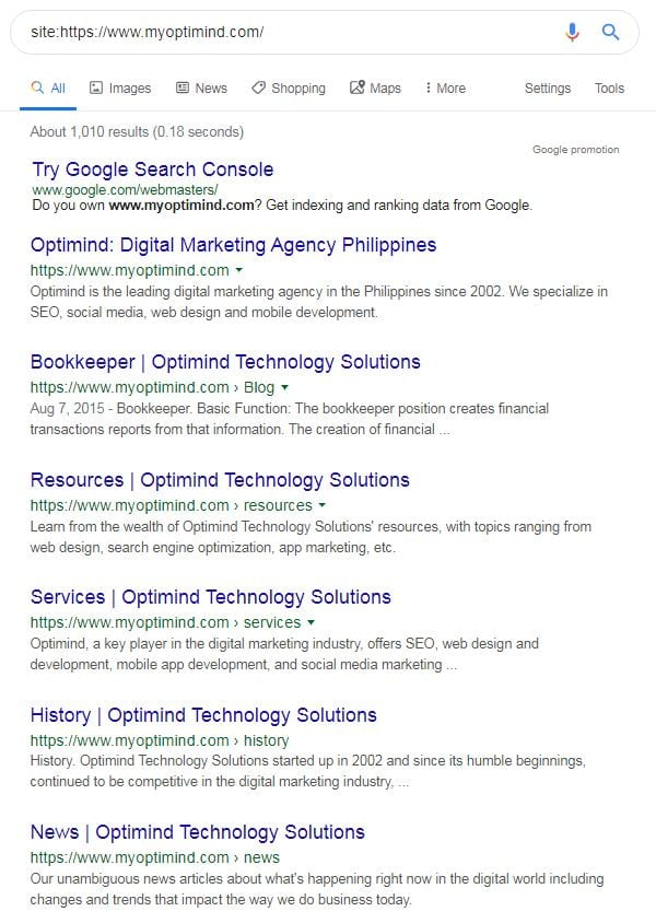 technical seo audit site search sample