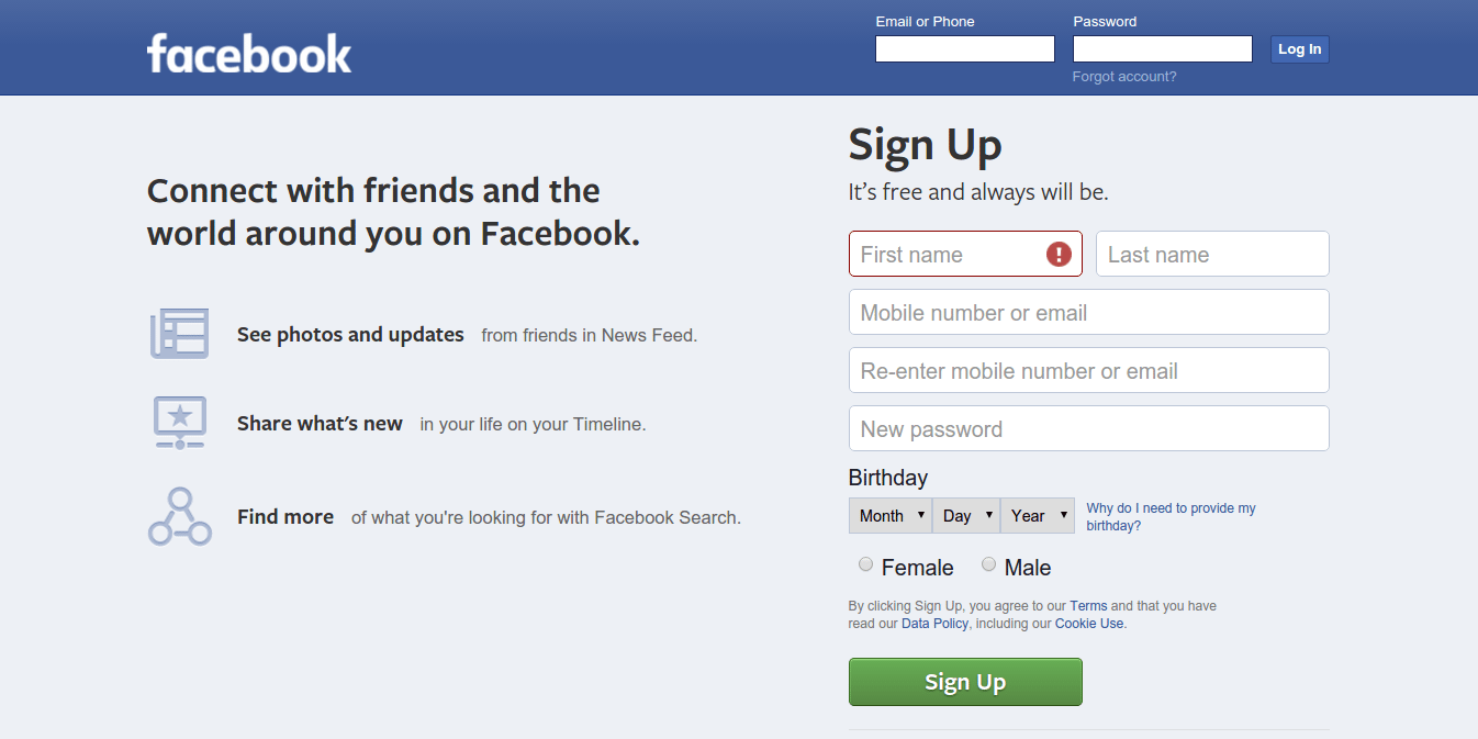 fullscreen form facebook