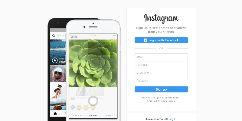 instagram fullscreen form