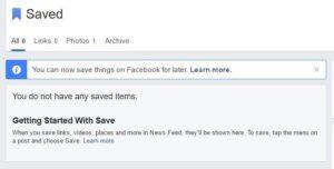 fb saved items