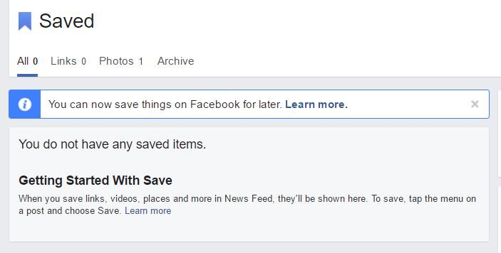 fb saved items