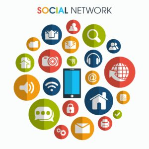 social media icons for content marketing and network communication concept